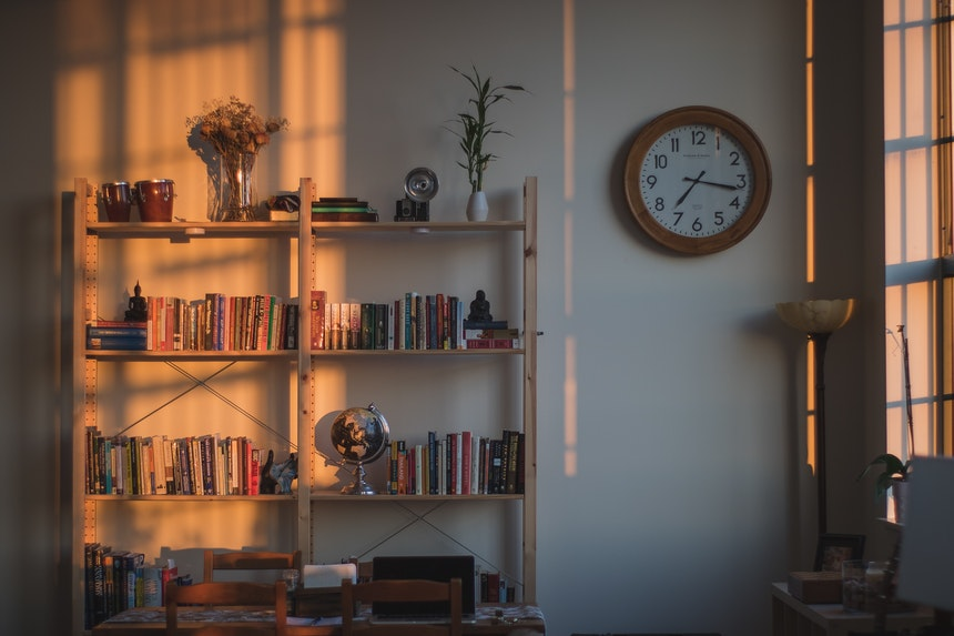 Bookcase in a sunlit room.
