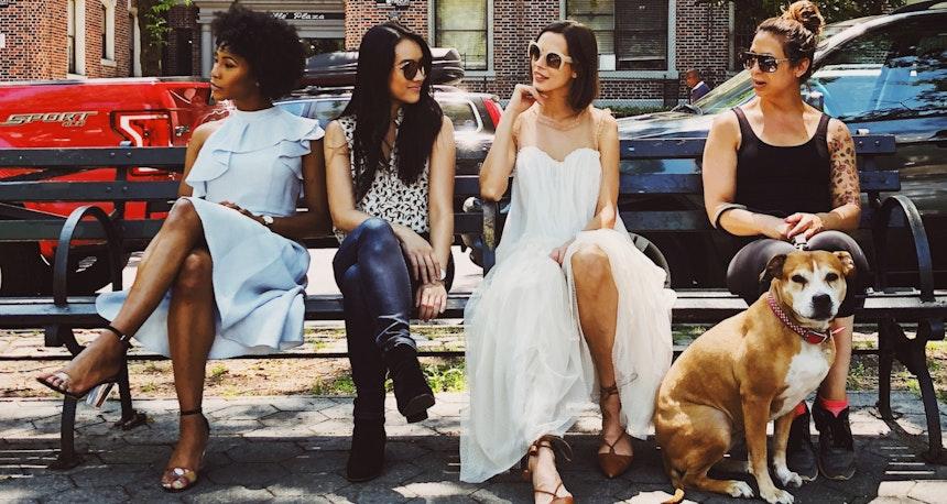 Women on park bench