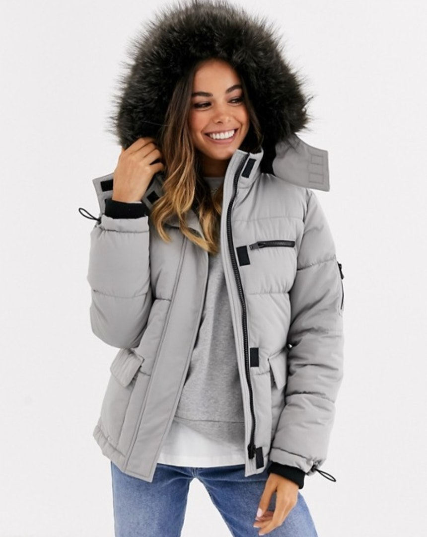Faux Fur Grey Puffer Coat