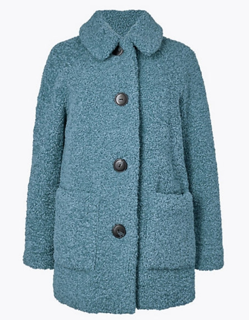 Teddy Coat in teal