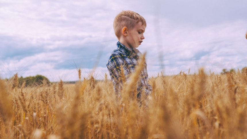 Boy standing in a field